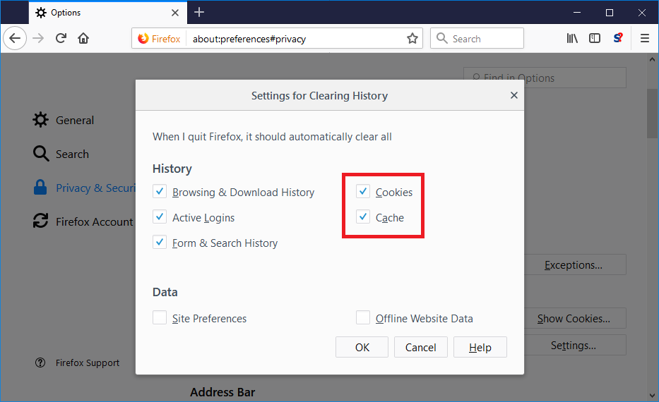 clear cache firefox remove virus