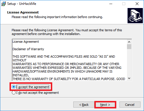 UnHackMe license agreement