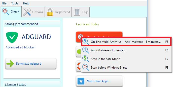 Start removing virus using UnHackMe