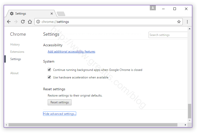 Reset Chrome Settings