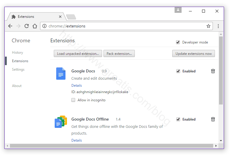 Remove CHROMINIO MESSAGE CENTER Virus from Chrome Extensions