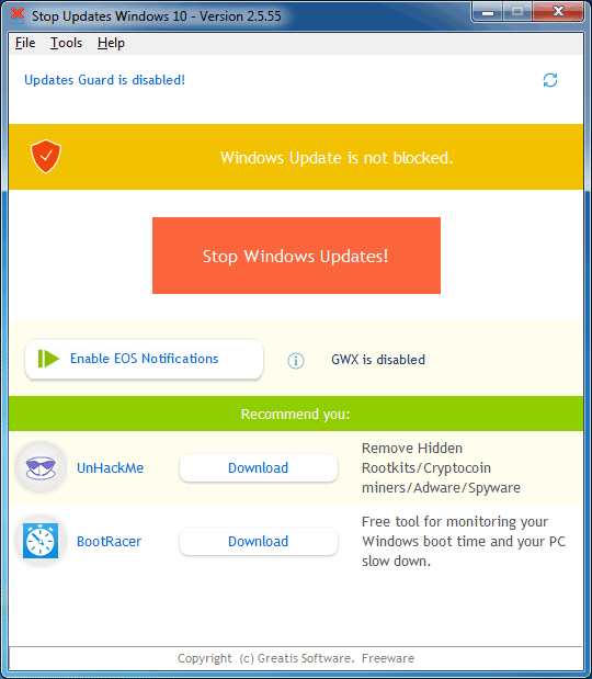 StopUpdates10 3.5.0.115 - Take your Control over Windows updates!