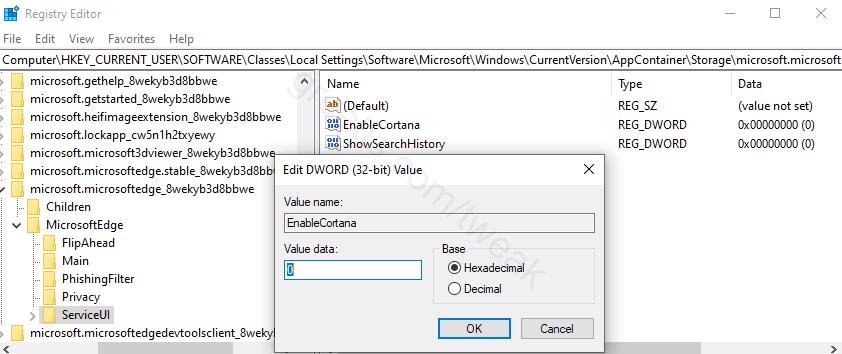 Disable Cortana in Edge