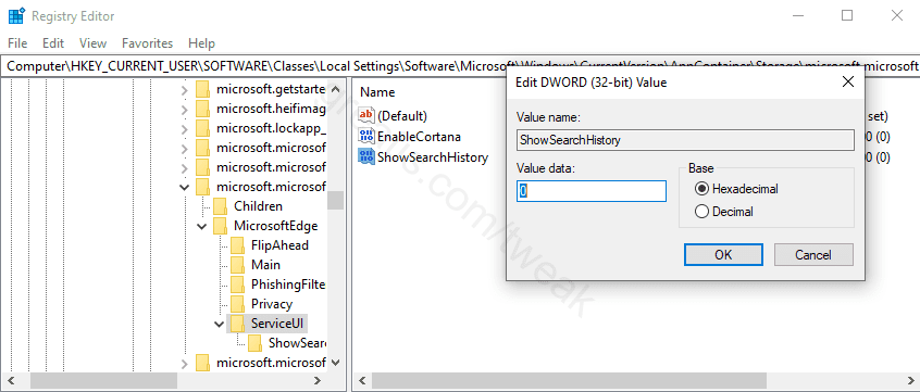 Disable Edge Legacy Search History