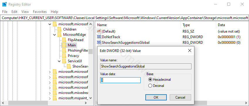 Disable Edge Legacy Search Suggestions in Address Bar
