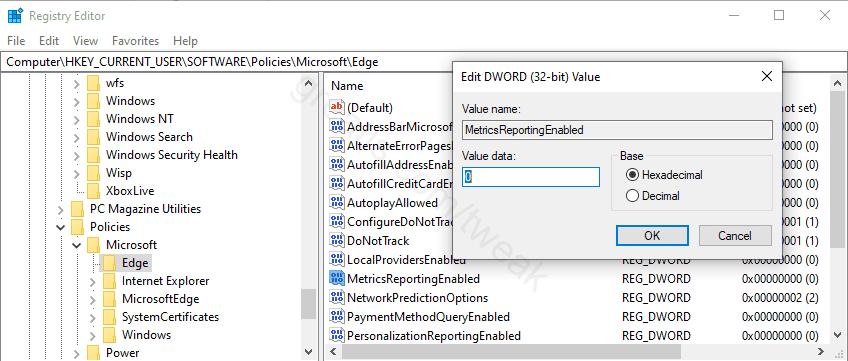 Disable Sending Edge Usage and Crash-related Data