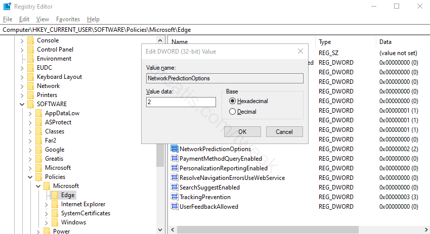 Changing the registry value