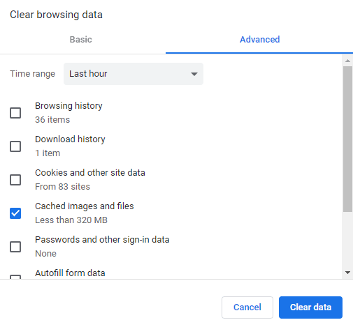 Clear  cache, cookies, browsing history in Google Chrome