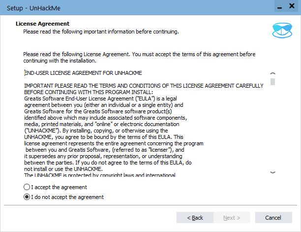 UnHackMe license agreement