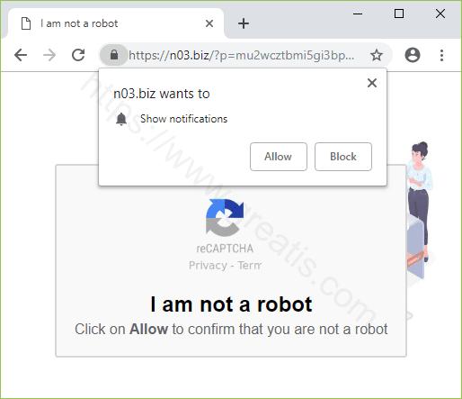 Remove N03.BIZ pop-up ads