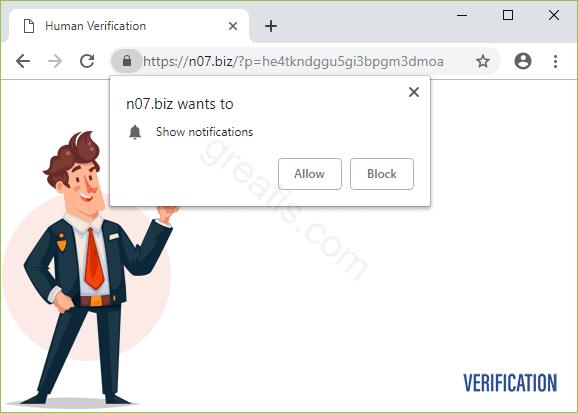 Remove N07.BIZ pop-up ads