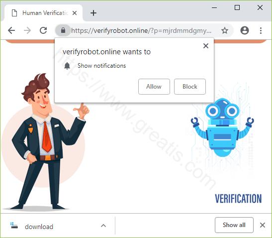 Remove VERIFYROBOT.ONLINE pop-up ads